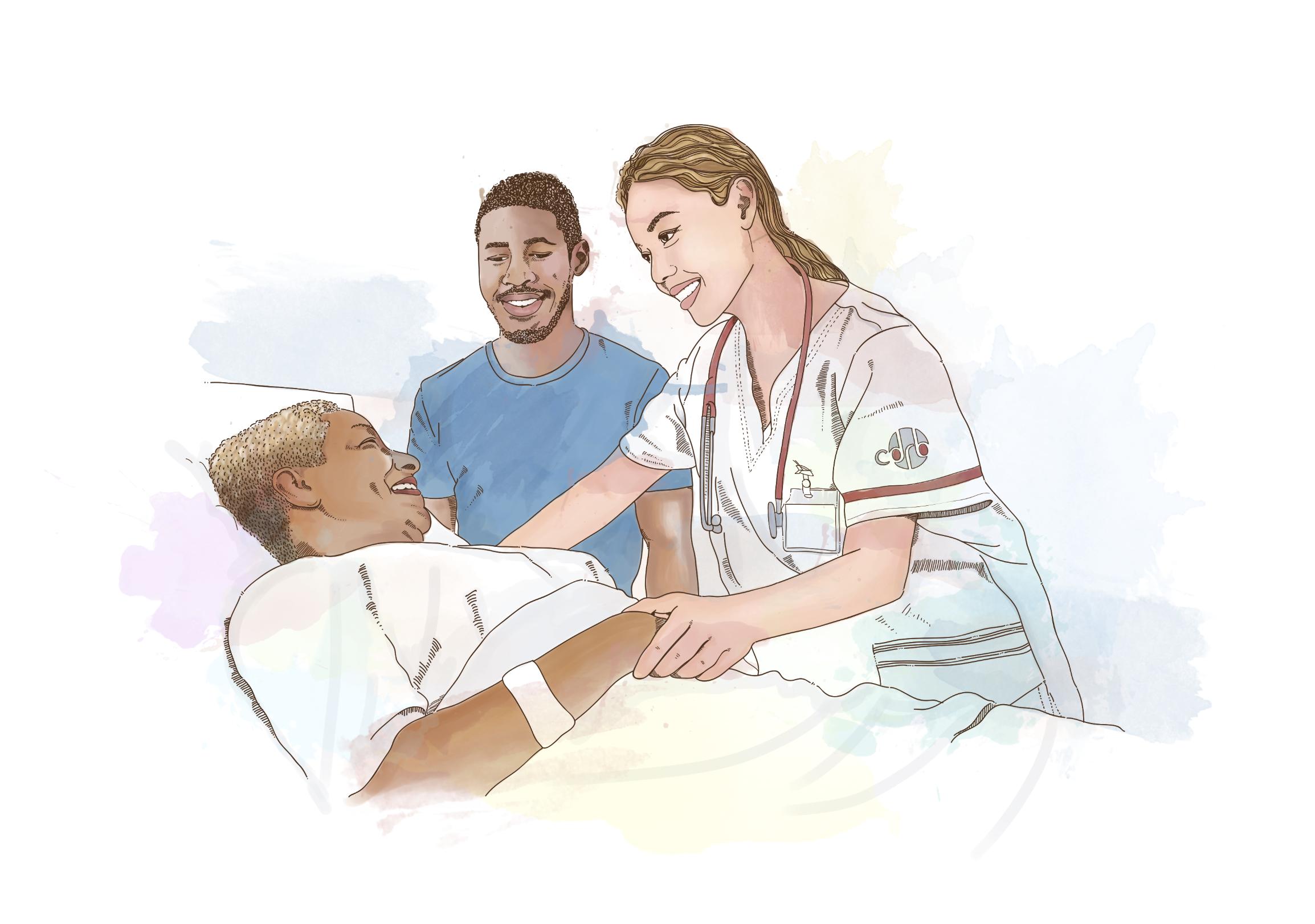 Uma enfermeira atendendo um paciente deitado em uma cama, ambos sorrindo