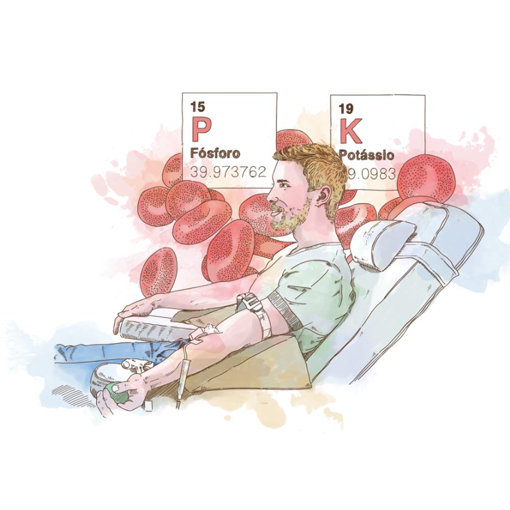 Serviço de hemodiálise, cuidados com o fósforo e postássio.