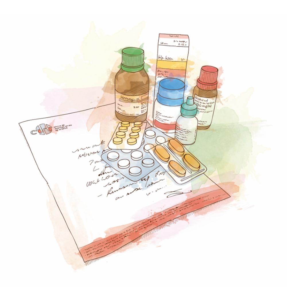 Serviço de prescrição com remédios para paciente renal CDRB.