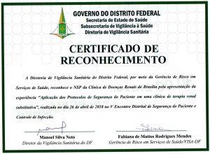 Certificado de Reconhecimento de Segurança do Paciente
